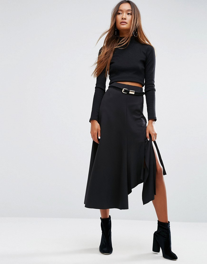 ASOS - Gonna midi in jersey destrutturato - Nero