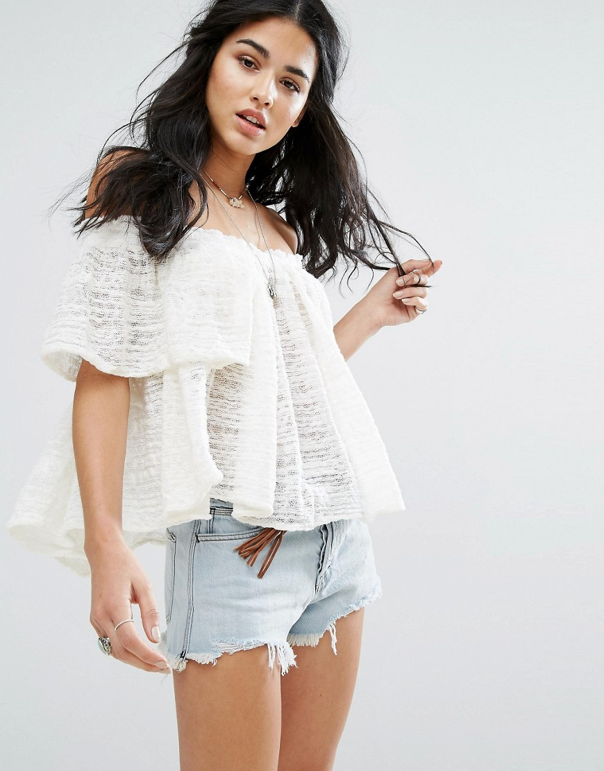 Free People - Thrills And Frills - Blusa con spalle scoperte - Bianco