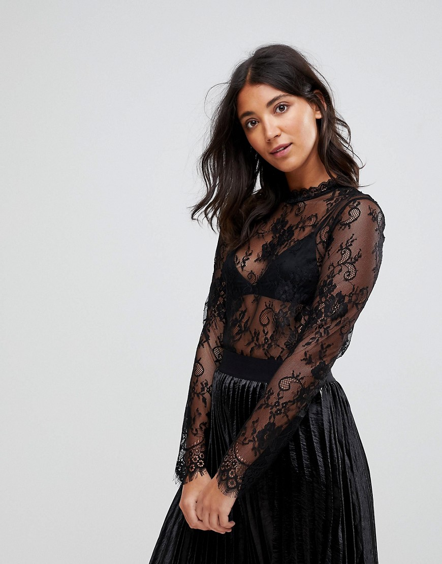 QED London - Top in pizzo - Nero