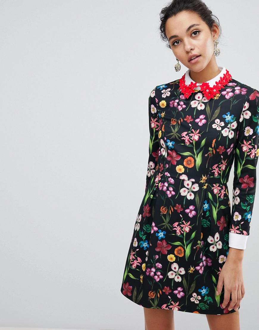 Ted Baker - Tillena - Vestito a pieghe con colletto decorato - Multicolore
