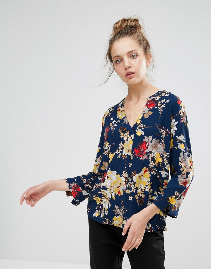 b.Young - Blusa senza colletto con stampa floreale - Navy