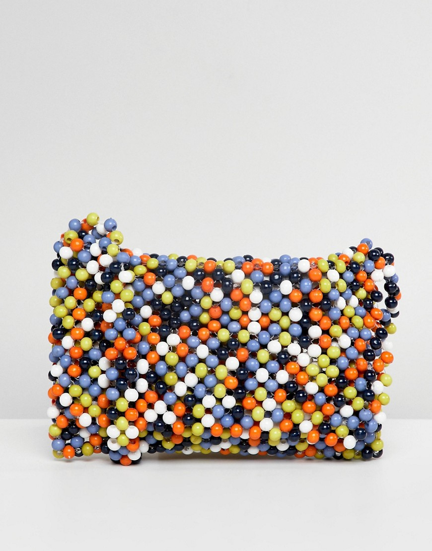 ASOS DESIGN - Borsa a tracolla con perline multi colorate - Multicolore