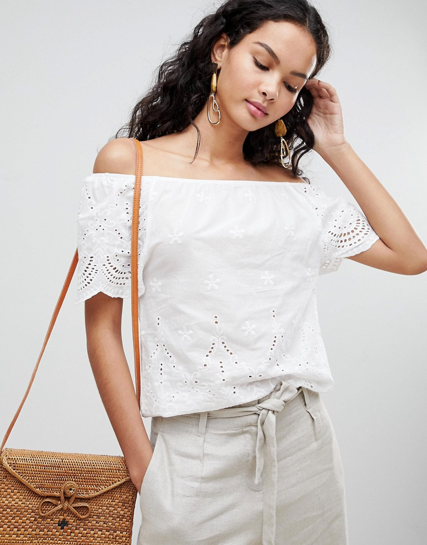 QED London - Top in pizzo con spalle scoperte - Bianco