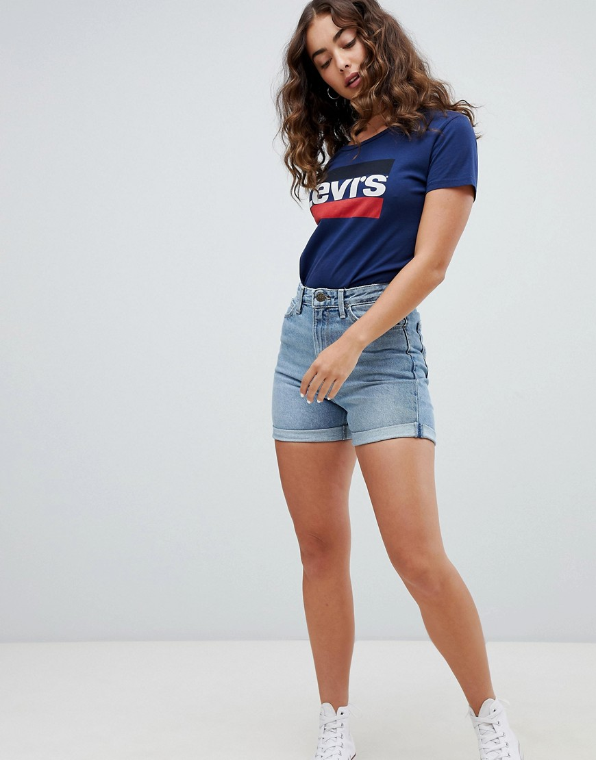 Lee - Mom shorts di jeans - Blu