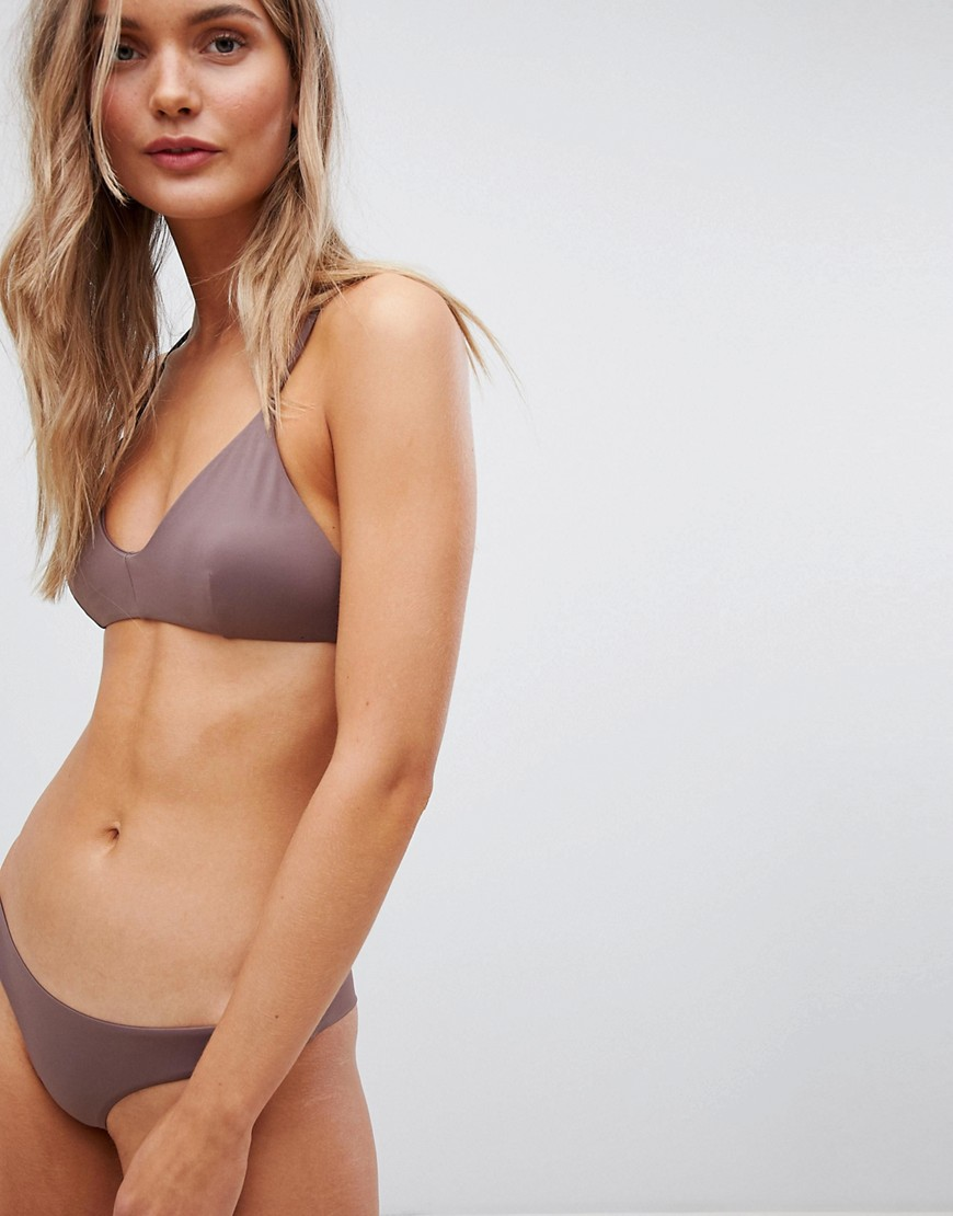 RVCA - Top bikini tinta unita con incrocio sul retro - Marrone