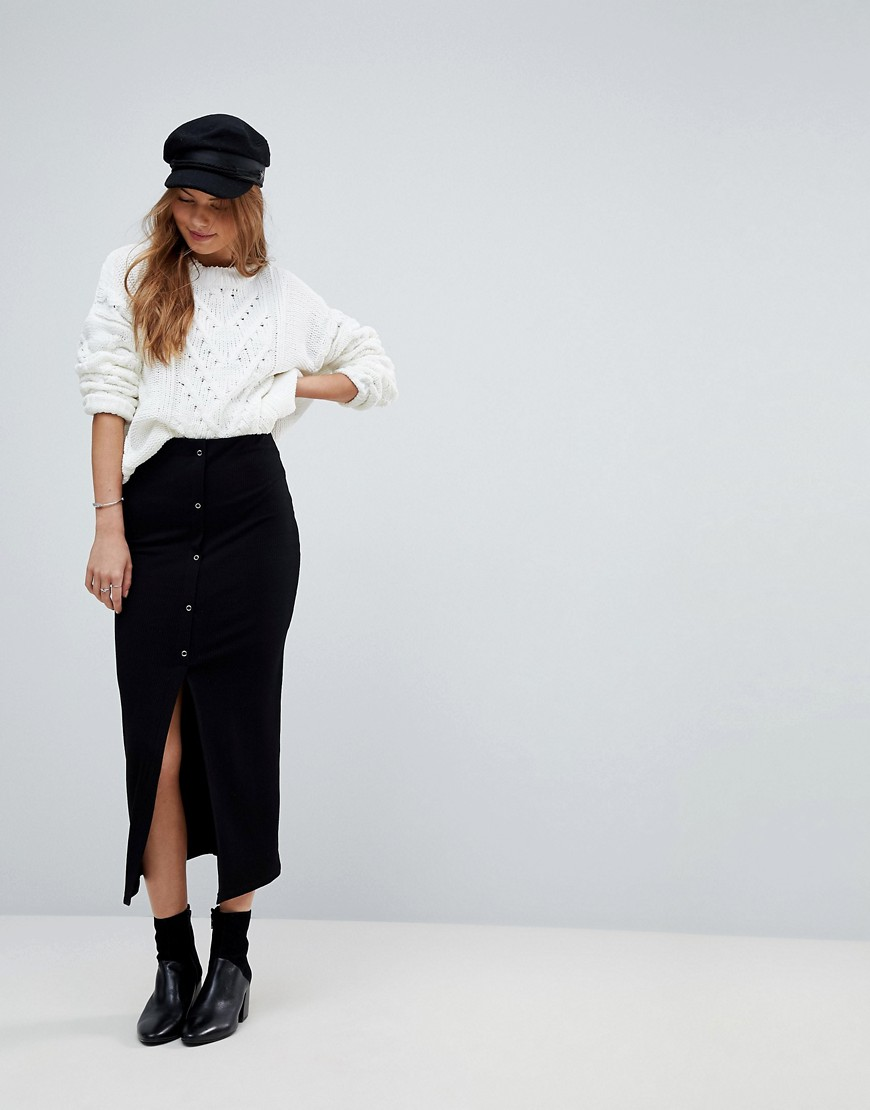 ASOS DESIGN - Gonna midi a coste con bottoni a pressione - Nero