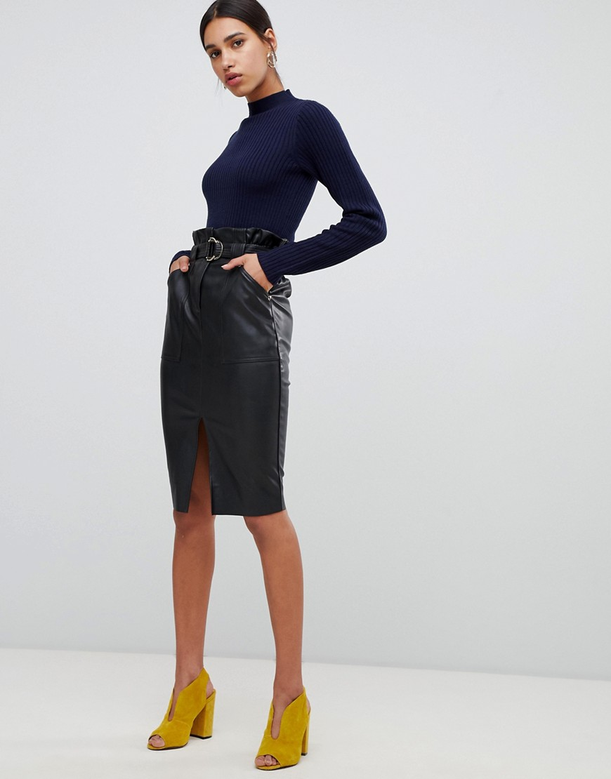 River Island faux leather midi skirt in black - Nero