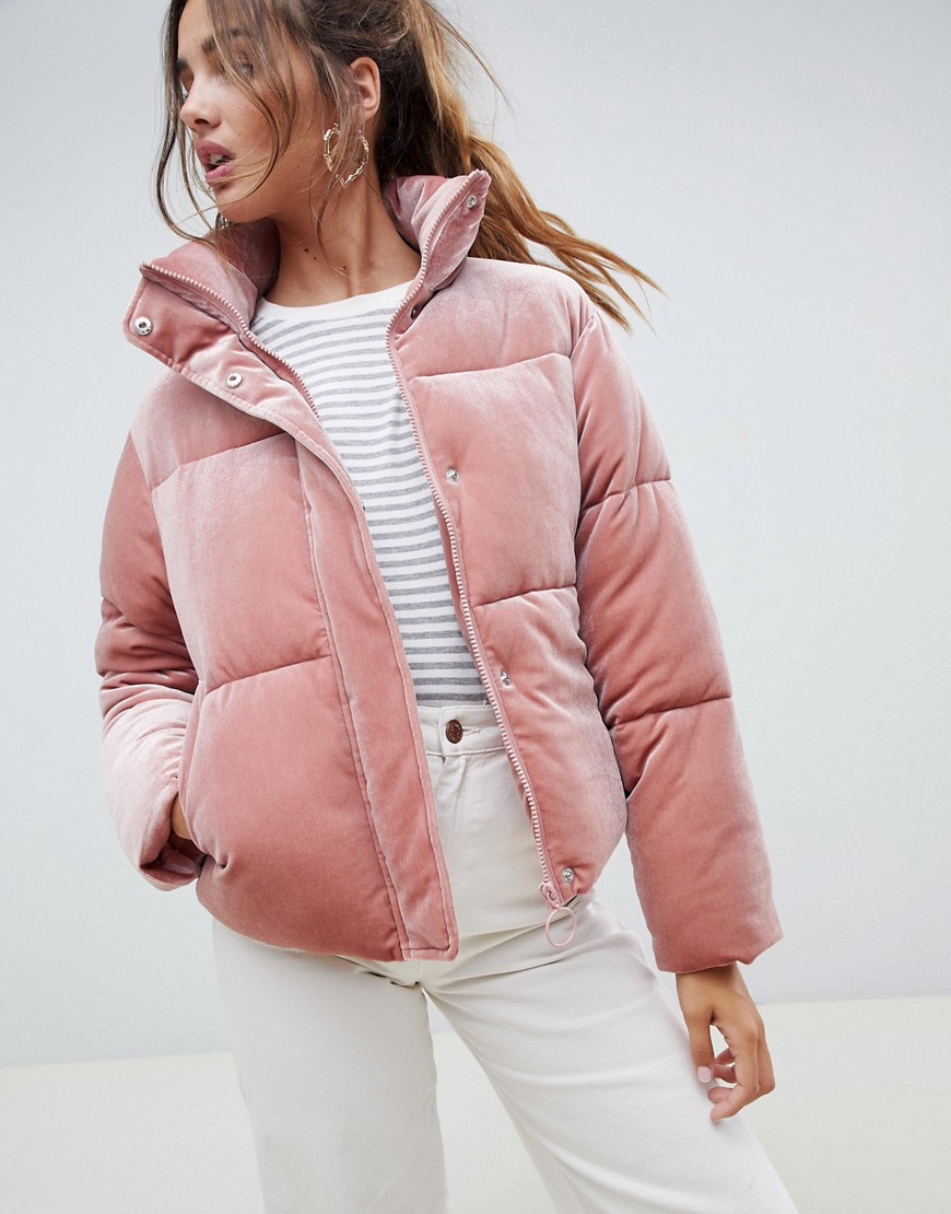 ASOS DESIGN - Ultimate - Piumino in velluto con collo a imbuto - Rosa