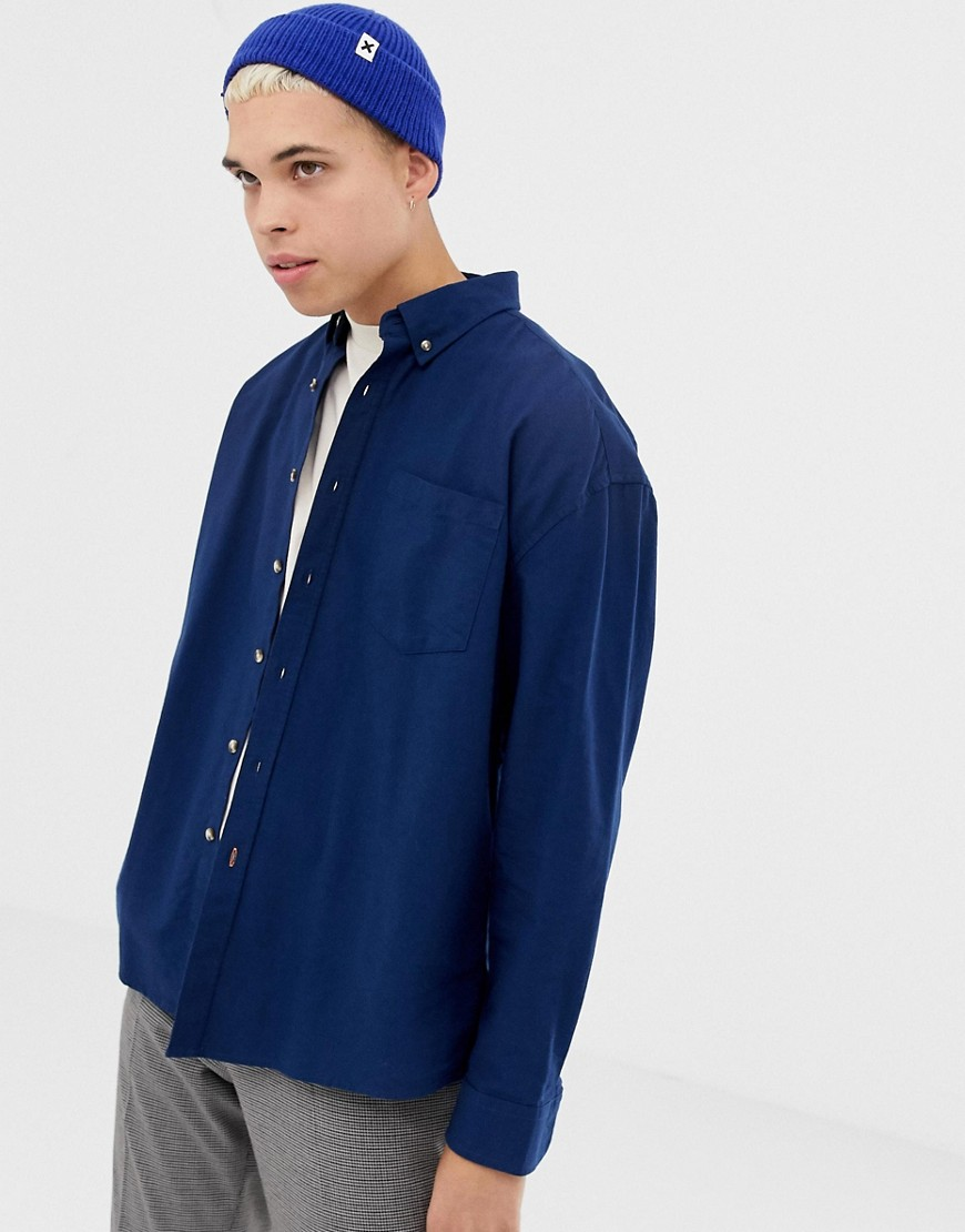 COLLUSION - Camicia Oxford oversize blu navy - Navy