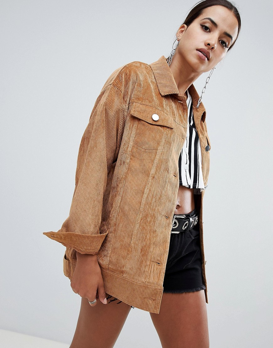 Missguided - Giacca trucker marrone a coste - Marrone