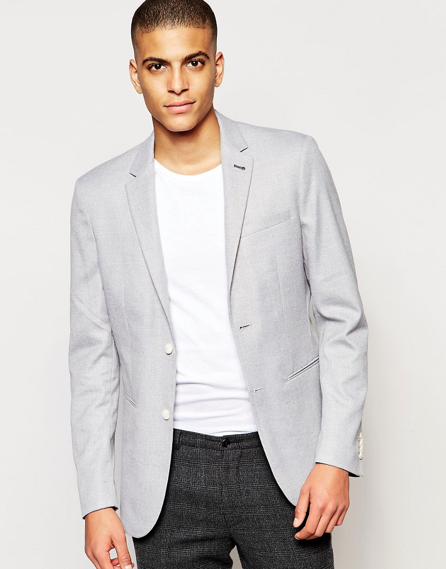 Jack & Jones - Blazer slim in piqué - Grigio
