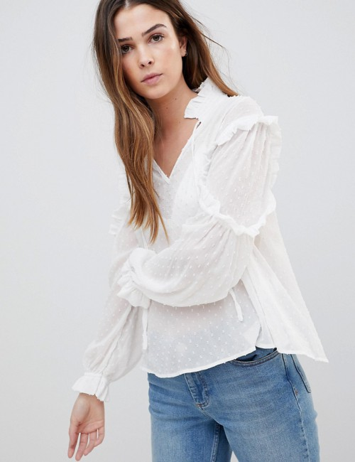 QED London - Blusa trasparente con collo alto - Crema